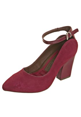 Sapato Scarpin Total Comfort Bico Fino Pulseira Vermelho - R...