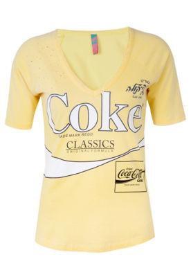 Blusa Coca-Cola Slim Perfuros Amarela - Coca Cola Clothing