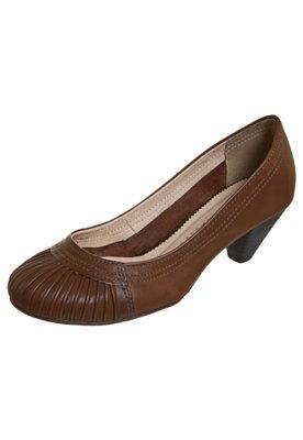 Sapato Scarpin Bottero Salto Baixo Pregas Marrom
