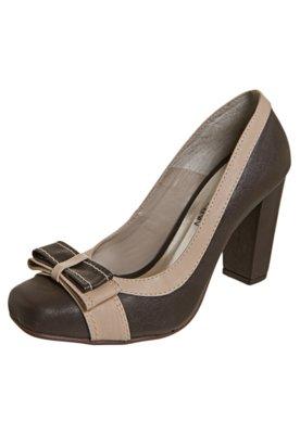 Sapato Scarpin Anna Flynn Laço Duplo Marrom