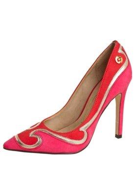 Sapato Scarpin Carmim Recortes Mix Cores Rosa