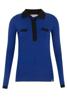 Camisa Polo Anna Flynn Casual Azul