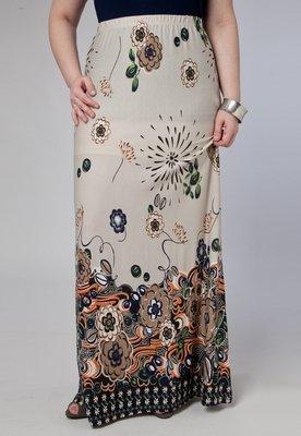Saia Longa Print Bege - Anna Flynn