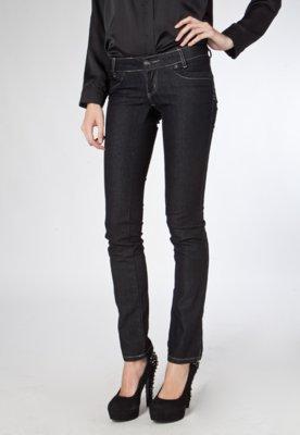 Calça Jeans Reta Levanta Bumbum Preta - Sawary
