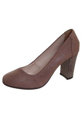 Sapato Scarpin Bico Redondo Marrom - Pop Touch