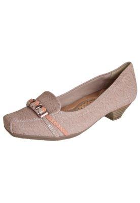 Sapato Scarpin Confortflex Salto Baixo Fivela Nude - Comfort...