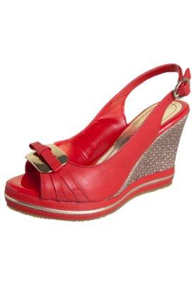 Sandália Bottero Anabela Chanel Laço e Ferragem Vermelha