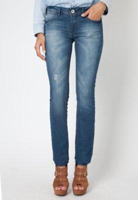 Calça Jeans Forum Elegance Estela Bordado Azul