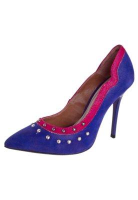 Sapato Scarpin Di Cristalli Bico Fino Bicolor Tachas Azul