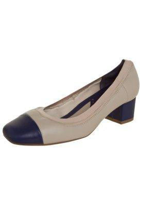 Sapato Scarpin Usaflex Bicolor Salto Bloco Elástico Bege