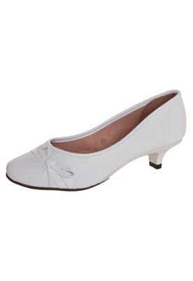 Sapato Scarpin Moleca Salto Baixo Laço Branco