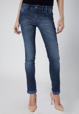 Calça Jeans Skinny Pink Connection Pespontos Azul