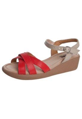 Sandália Usaflex Anabelinha Tiras Cruzadas Vermelha