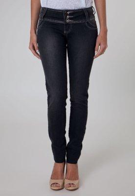 Calça Jeans Sawary Skinny Botão Preta