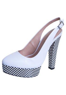 Sapato Scarpin Datelli Chanel Fachete Diferenciado Branco