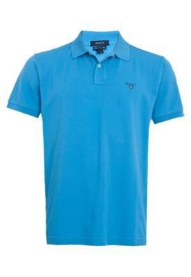 Camisa Polo Gant Solid Pique Azul