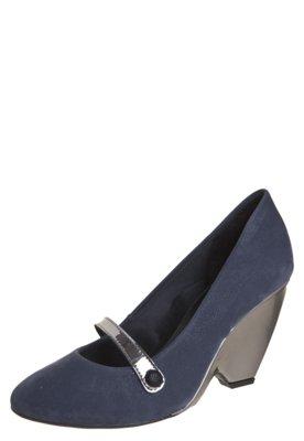 Sapato Scarpin Salto Médio Di Cristalli Tira Botão Azul