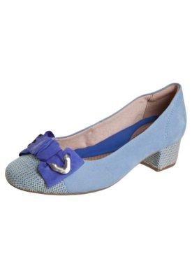 Sapato Scarpin Ramarim Salto Bloco Laço Azul