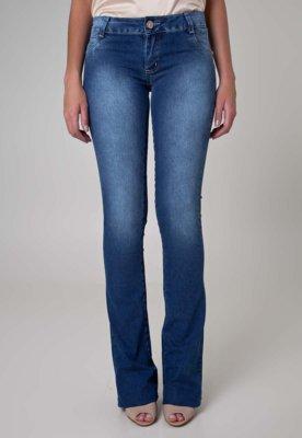 Calça Jeans Sawary Flare Strass Azul