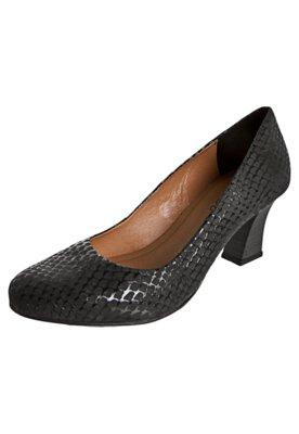 Sapato Scarpin Textura Serpente Preto - FiveBlu