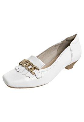 Sapato Scarpin Dayflex Salto Baixo Franja Corrente Branco