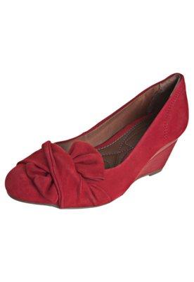 Sapato Scarpin Ramarim Total Comfort Anabela Meio Laço Verm...