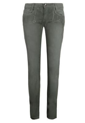 Calça Jeans Tachas Verde Acinzentado - Espaço Fashion