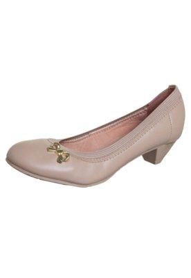 Sapato Scarpin Moleca Saltinho Laço Metal Bege