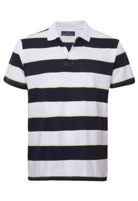 Camisa Polo Pier Nine Life Listras Preta e Branca