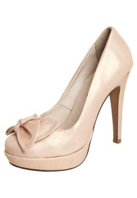 Sapato Scarpin Bottero Salto Alto 1/2 Pata e Laço Bege