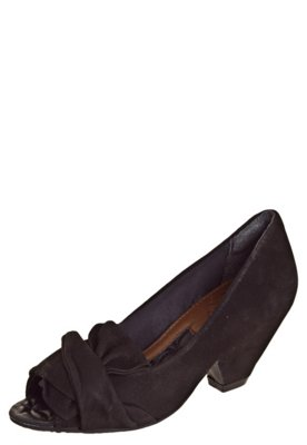 Sapato Scarpin Ramarim Salto Grosso Médio Meio Laço Preto