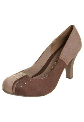 Sapato Scarpin Azaleia Bicolor Cravos Bege/Marrom