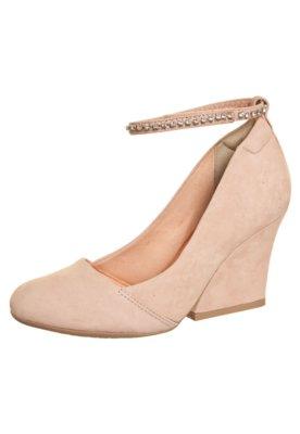 Sapato Scarpin Dayflex Salto Grosso Pulseira Strass Nude
