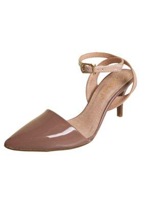 Sapato Scarpin Bebecê Semi Aberto Pulseira Marrom
