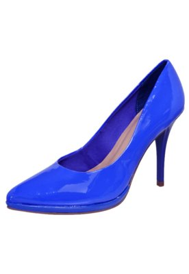 Sapato Scarpin Via Uno Bico Fino Meia Pata Fina Azul