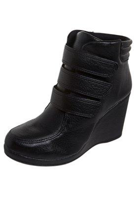 Ankle Boot  Anabela Velcro Preta - AZALEIA