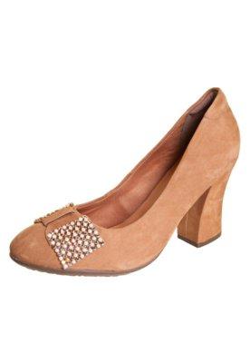 Sapato Scarpin Dayflex Salto Grosso Laço Pérolas Caramelo