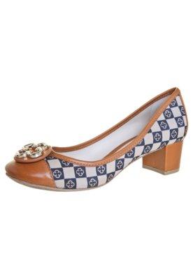 Sapato Scarpin Capodarte Jacquard Monograma Caramelo