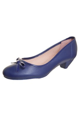 Sapato Scarpin Moleca Laço Salto Baixo Azul