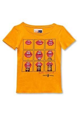 Blusa Slim Bocas Amarela - Coca Cola Clothing