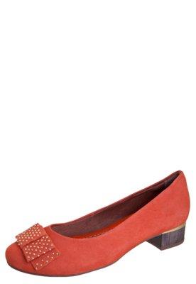 Sapato Scarpin Ramarim Salto Grosso Baixo Laço Hotfix Laran...