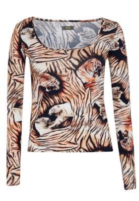 Blusa Triton Tiger Bege/ Animal print