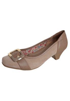 Sapato Scarpin Anna Flynn Fivela Bege