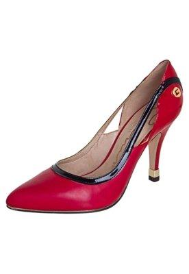 Sapato Scarpin Carmim Recortes Vermelho