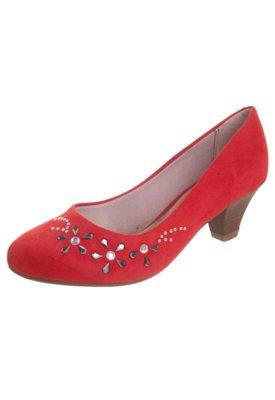 Sapato Scarpin Beira Rio Salto Baixo Flores Hotfix Vermelho