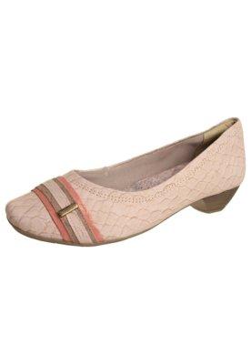 Sapato Scarpin Comfortflex Faixas Bege