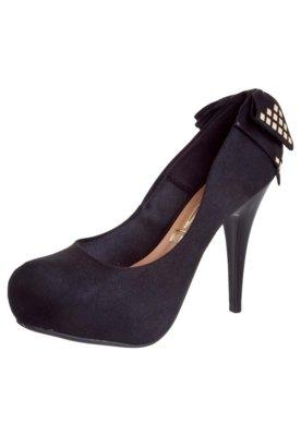 Sapato Scarpin Vizzano 1/2 Pata Embutida Laço Traseiro Pret...