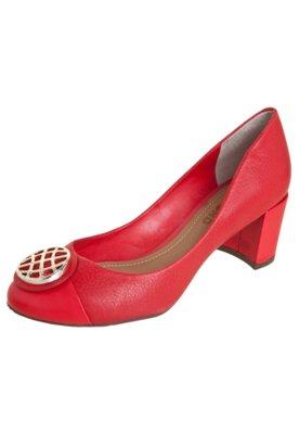 Sapato Scarpin Dumond Salto Grosso Baixo Vermelho