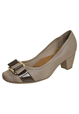 Sapato Scarpin Piccadilly Laço Duplo com Metal Cinza