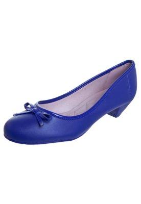 Sapato Scarpin Salto Baixo Laço Azul - Moleca